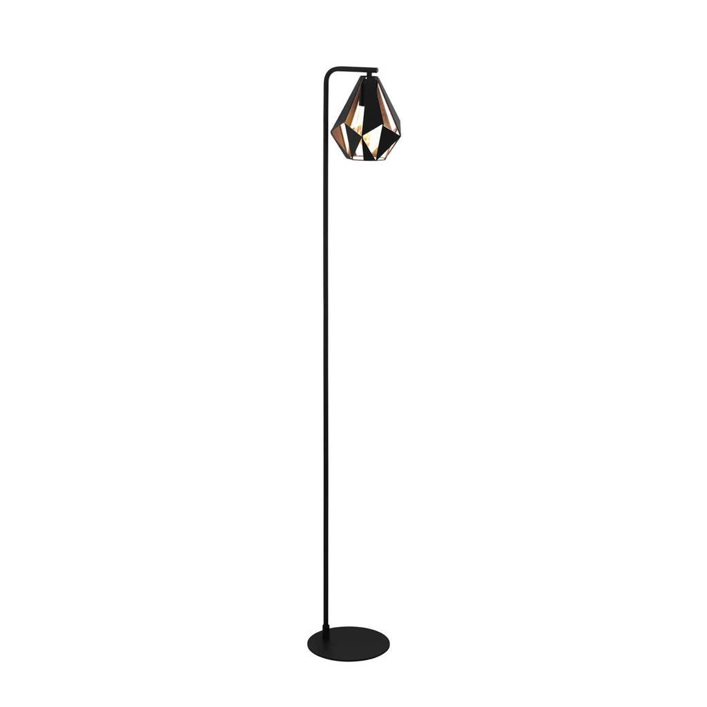 EGLO vloerlamp Carlton 4, zwart, antiek-koperkleur
