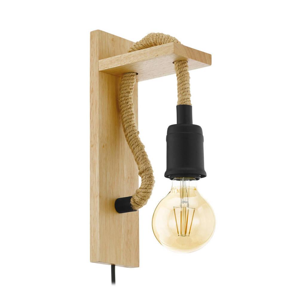 EGLO wandlamp Rampside, Zwart, bruin