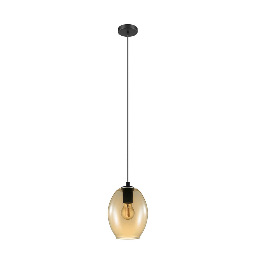 EGLO hanglamp Cadaques, zwart/amberkleurig