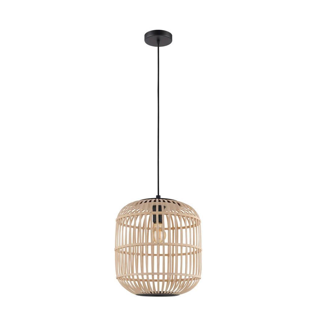 EGLO hanglamp Bordesley, zwart/natuur