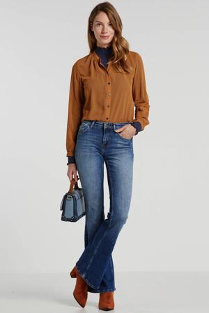 semi-transparante blouse met stippen koperbruin