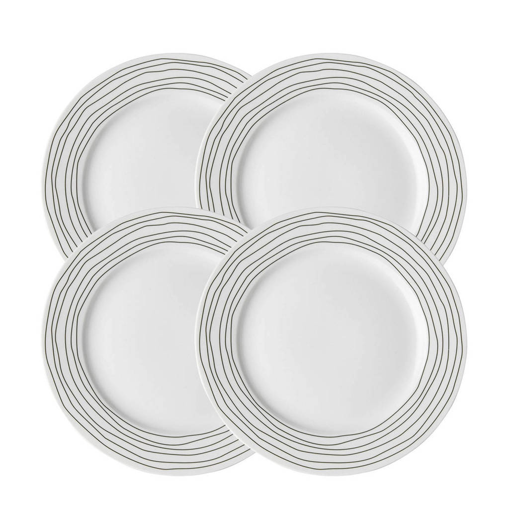Dutch Rose ontbijtbord (ø21 cm) (set van 4), Zwart/wit
