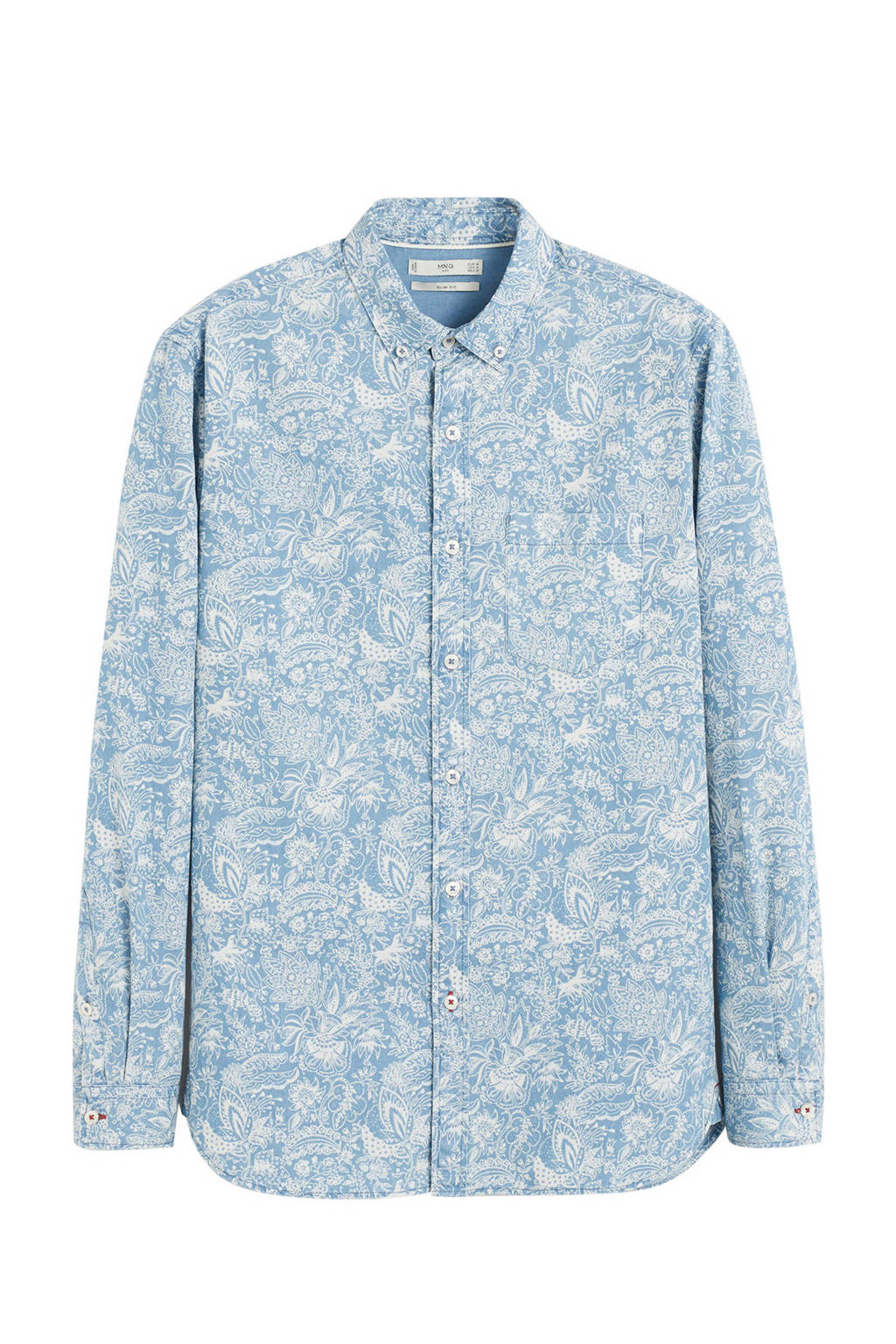 Mango Man gebloemd regular fit overhemd middenblauw