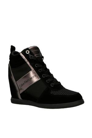 Beth suède wedge sneakers zwart