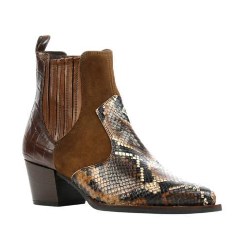 Maripe 29009 leren chelsea boots slangenprint bruin