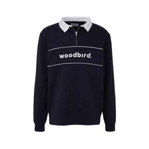 Woodbird sweater met printopdruk donkerblauw