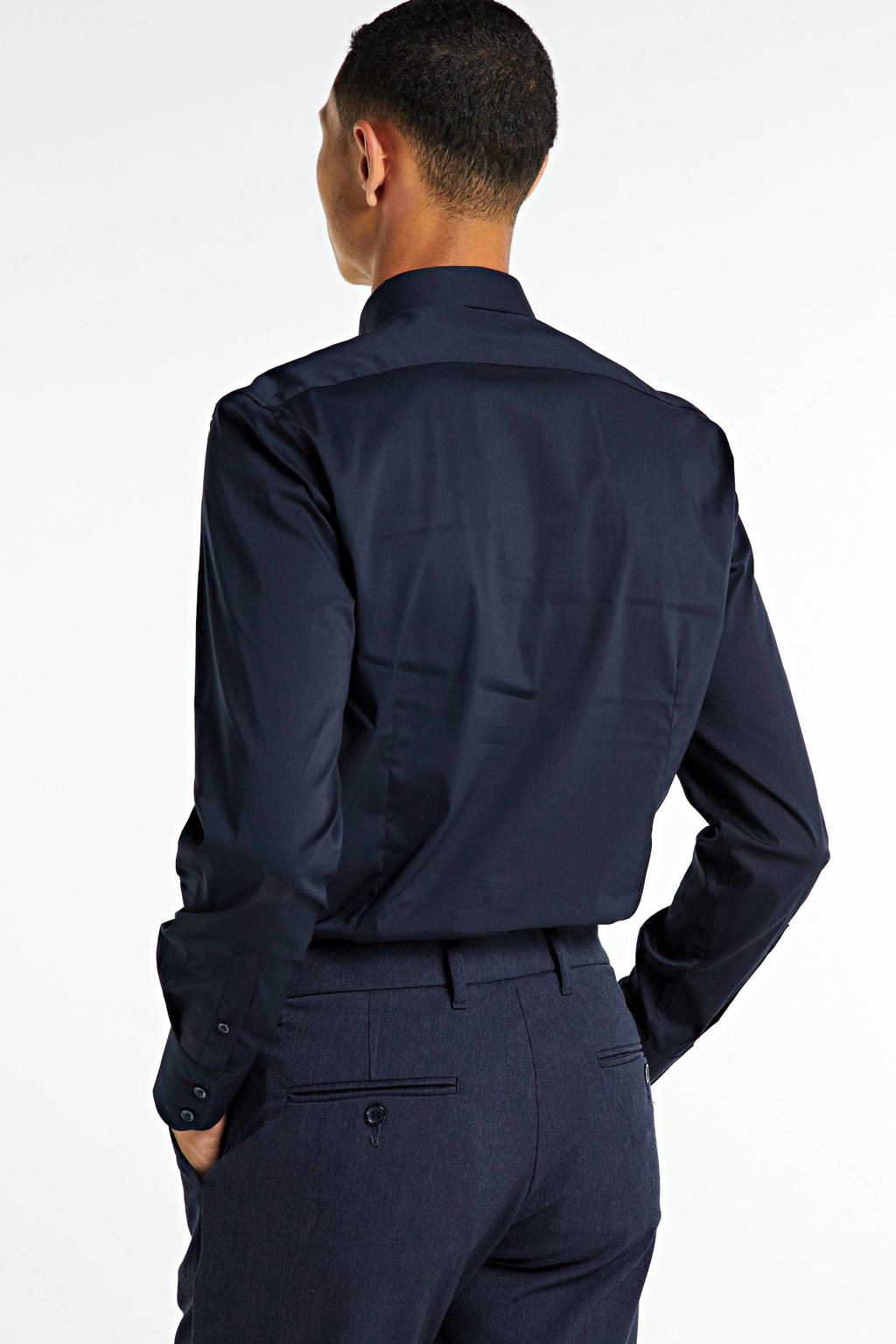 Woodbird regular fit pantalon donkerblauw melange, Donkerblauw melange
