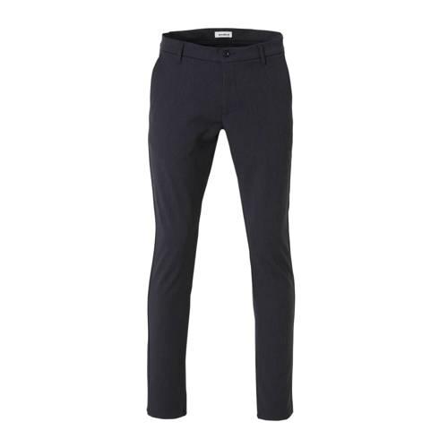Woodbird regular fit pantalon donkerblauw melange