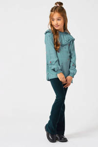 America Today Junior corduroy flared legging Coco met textuur petrolblauw, Petrolblauw