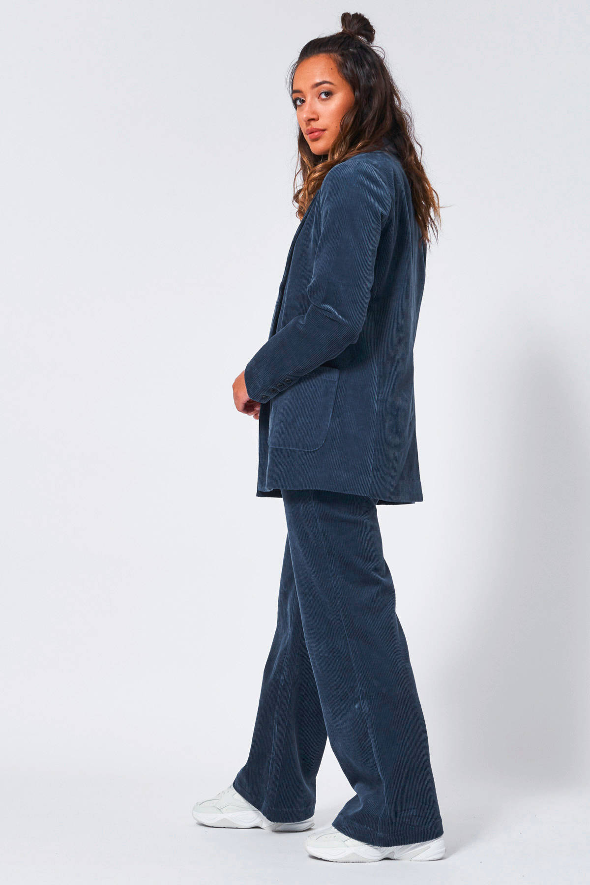 America Today corduroy high waist flared broek blauw | wehkamp