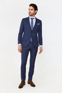 WE Fashion Van Gils geruit slim fit colbert met wol royal navy, Royal Navy