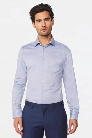 gemêleerd slim fit overhemd lichtblauw