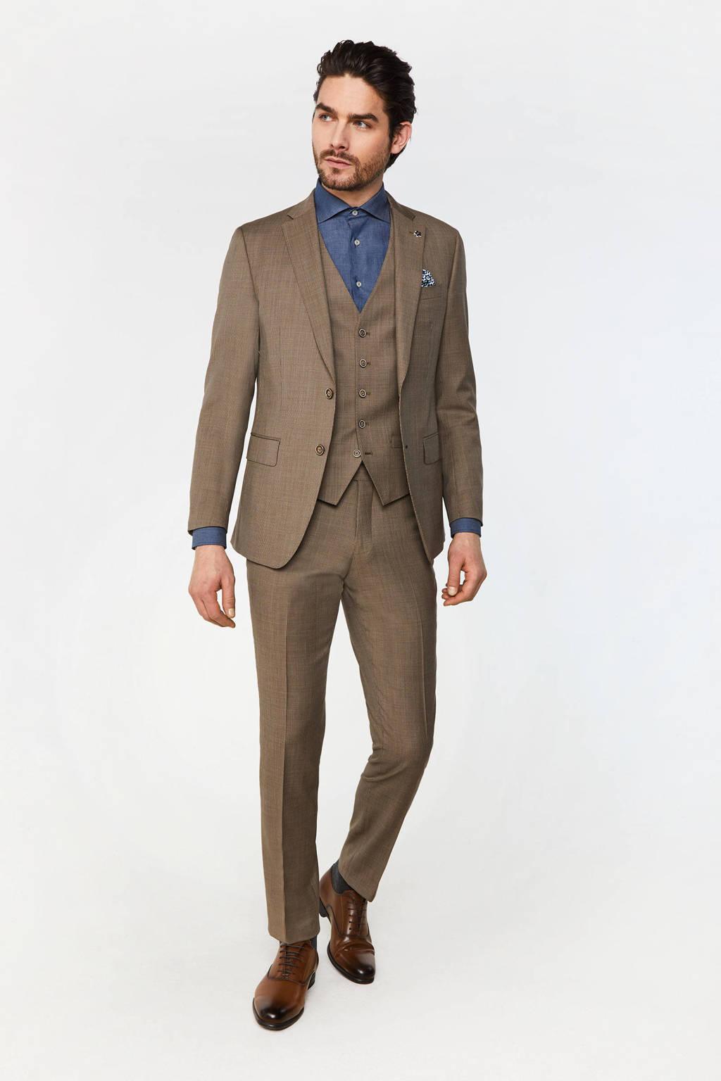 WE Fashion Van Gils geruit slim fit colbert met wol brown melange, Brown Melange