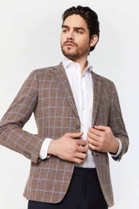WE Fashion Van Gils geruit slim fit colbert brown melange, Brown Melange