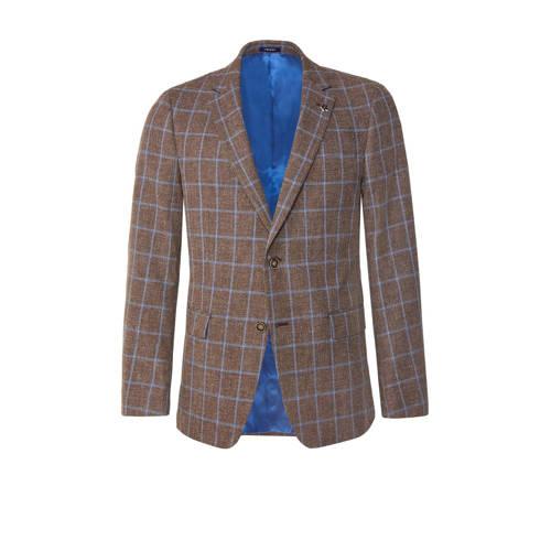 WE Fashion Van Gils geruit slim fit colbert brown