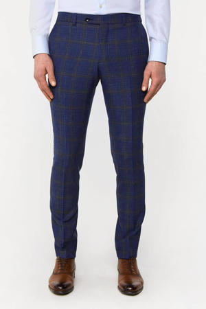 geruite slim fit pantalon met wol royal navy