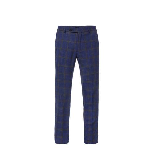 WE Fashion Van Gils geruite slim fit pantalon met