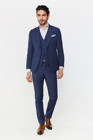 geruit slim fit colbert met wol royal navy