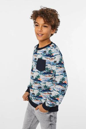 sweater met all over print lichtgrijs/blauw/zwart