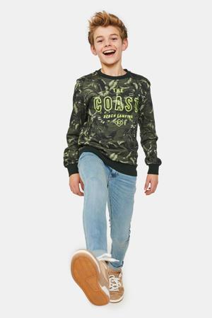 sweater met all over print donkergroen/groen/zwart