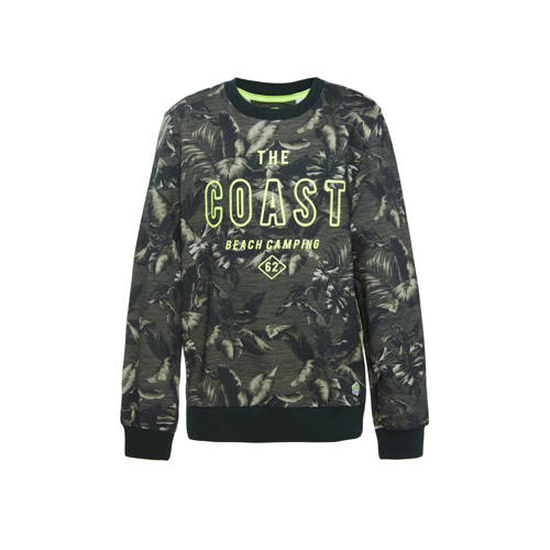 WE Fashion sweater met all over print donkergroen/