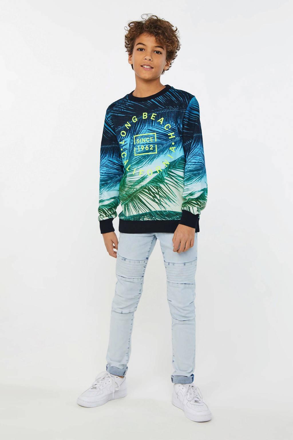WE Fashion sweater met all over print blauw/groen/zwart, Blauw/groen/zwart