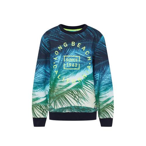 WE Fashion sweater met all over print blauw/groen/