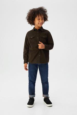 ribgebreid corduroy overhemd donkergroen