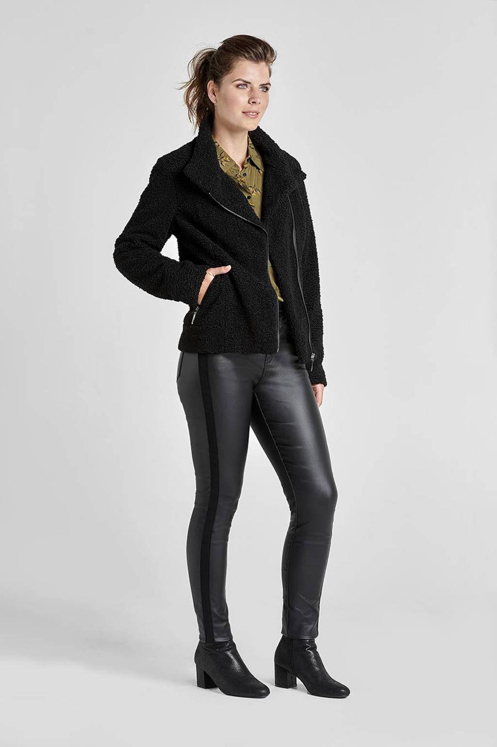 Miss Etam Regulier coated slim fit broek met zijstreep zwart, Zwart