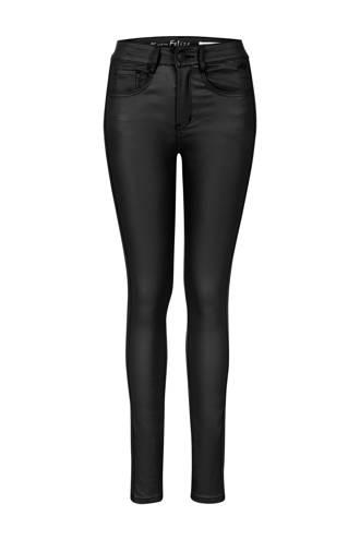 Regulier coated slim fit broek met zijstreep zwart