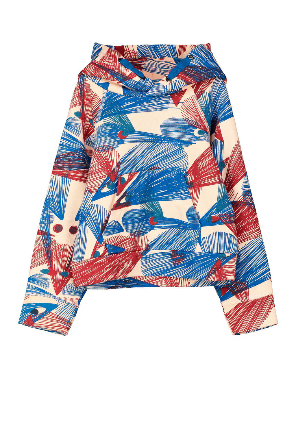 fred + ginger hoodie Alfa met all over print rood/blauw, Rood/blauw