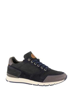 leren sneakers donkerblauw/grijs