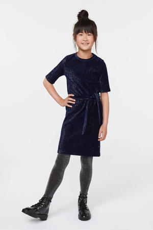 jersey jurk met glitters donkerblauw/zilver
