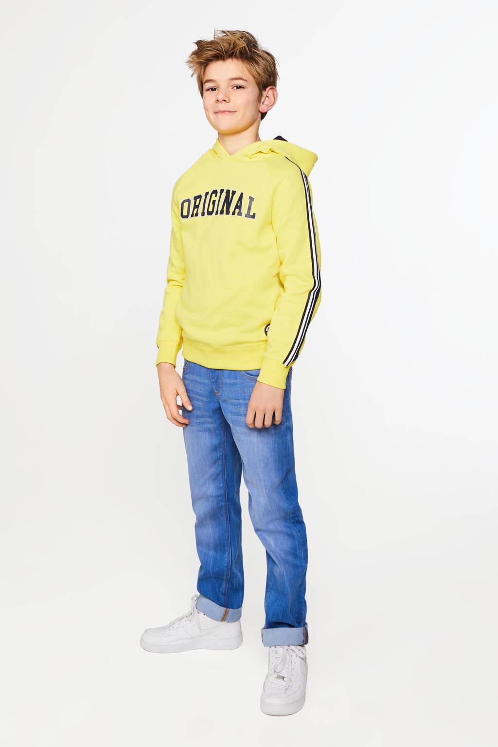 WE Fashion hoodie met contrastbies geel/zwart/wit, Geel/zwart/wit