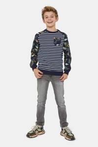 WE Fashion sweater donkerblauw/donkergroen/wit