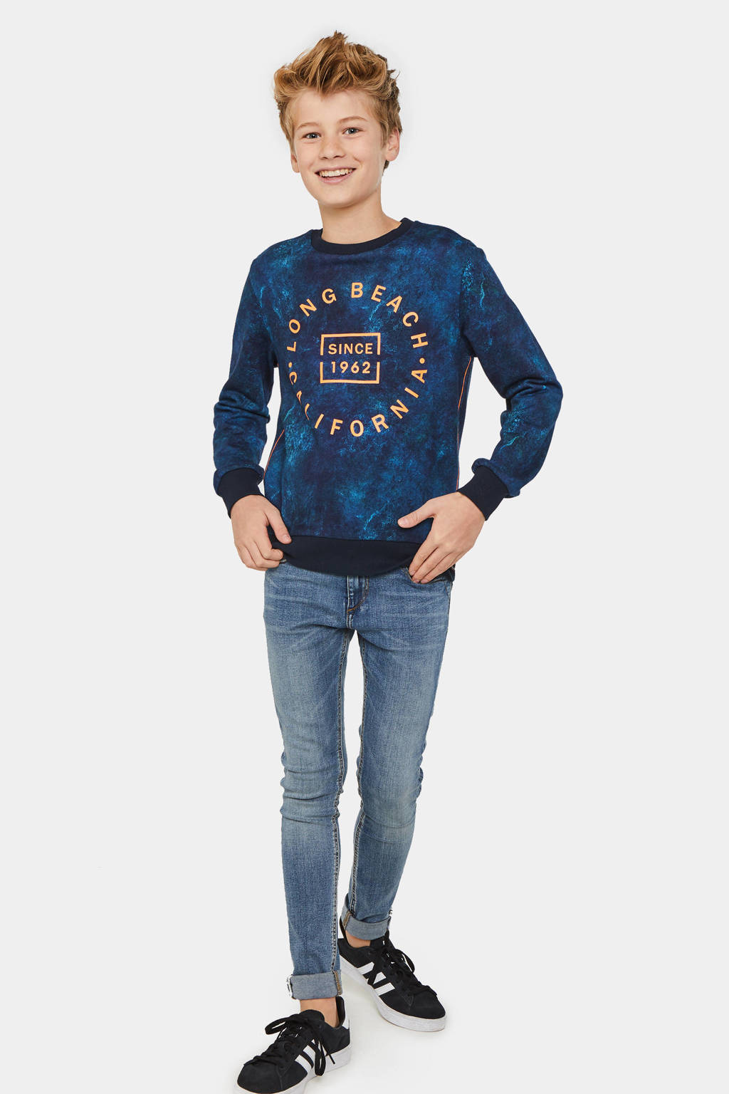 WE Fashion sweater met all over print donkerblauw/oranje/zwart, Donkerblauw/Oranje/Zwart