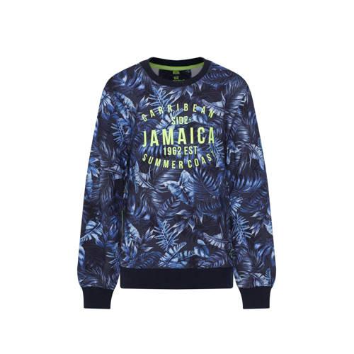 WE Fashion gebloemde sweater donkerblauw/geel