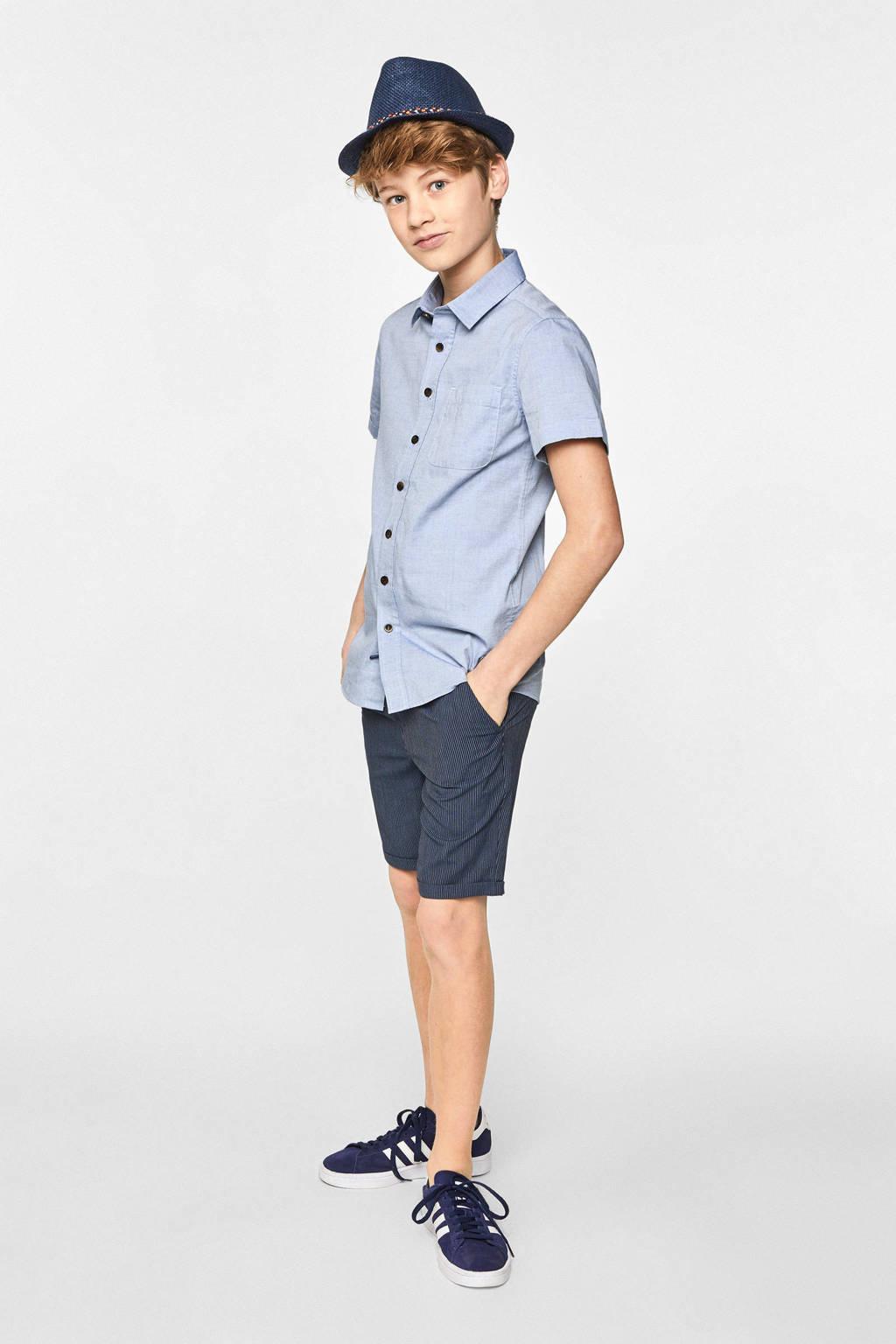 WE Fashion gemêleerd overhemd blauw, Blauw