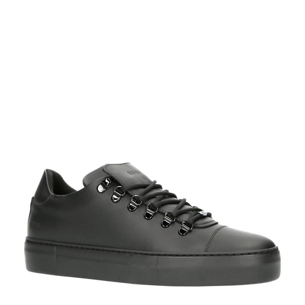 Nubikk Jagger Gomma   leren sneakers zwart, Zwart