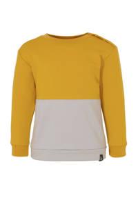 Babystyling sweater okergeel/grijs
