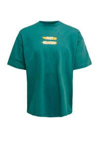 ONLY & SONS T-shirt met printopdruk blauw/groen/geel/wit, Blauw/groen/geel/wit