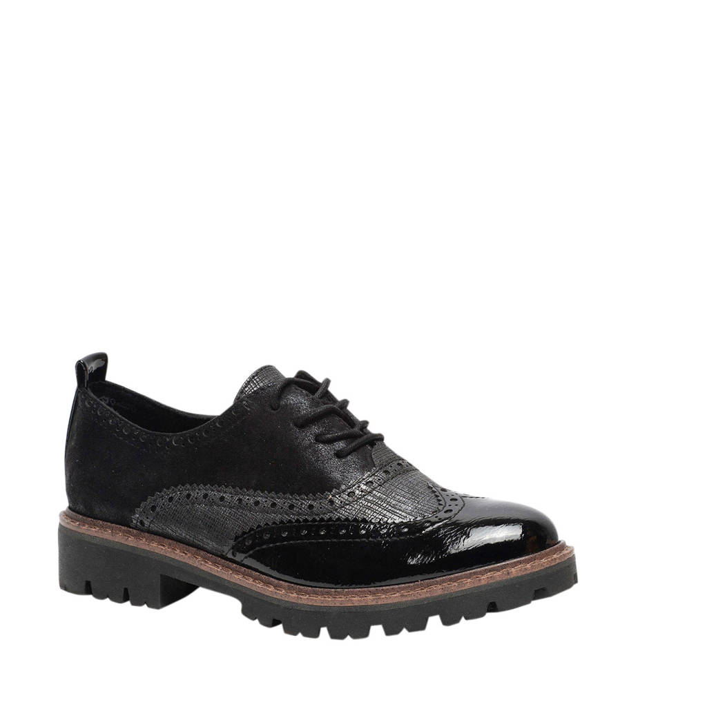 Scapino Nova   veterschoenen zwart/grijs, Zwart
