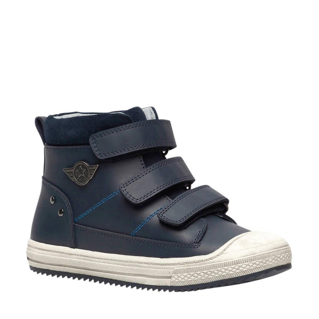 TwoDay   hoge leren sneakers blauw, Donkerblauw