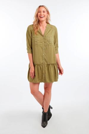 blousejurk met volant groen