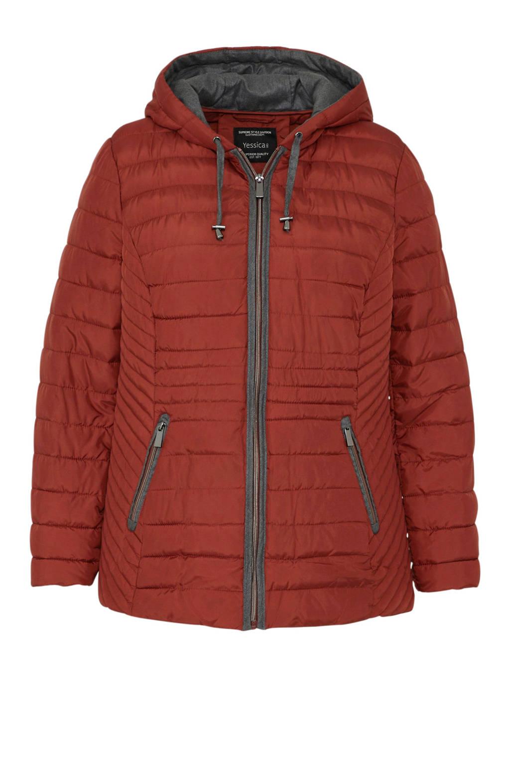 C&A XL Yessica gevoerde jas bruin, Rood