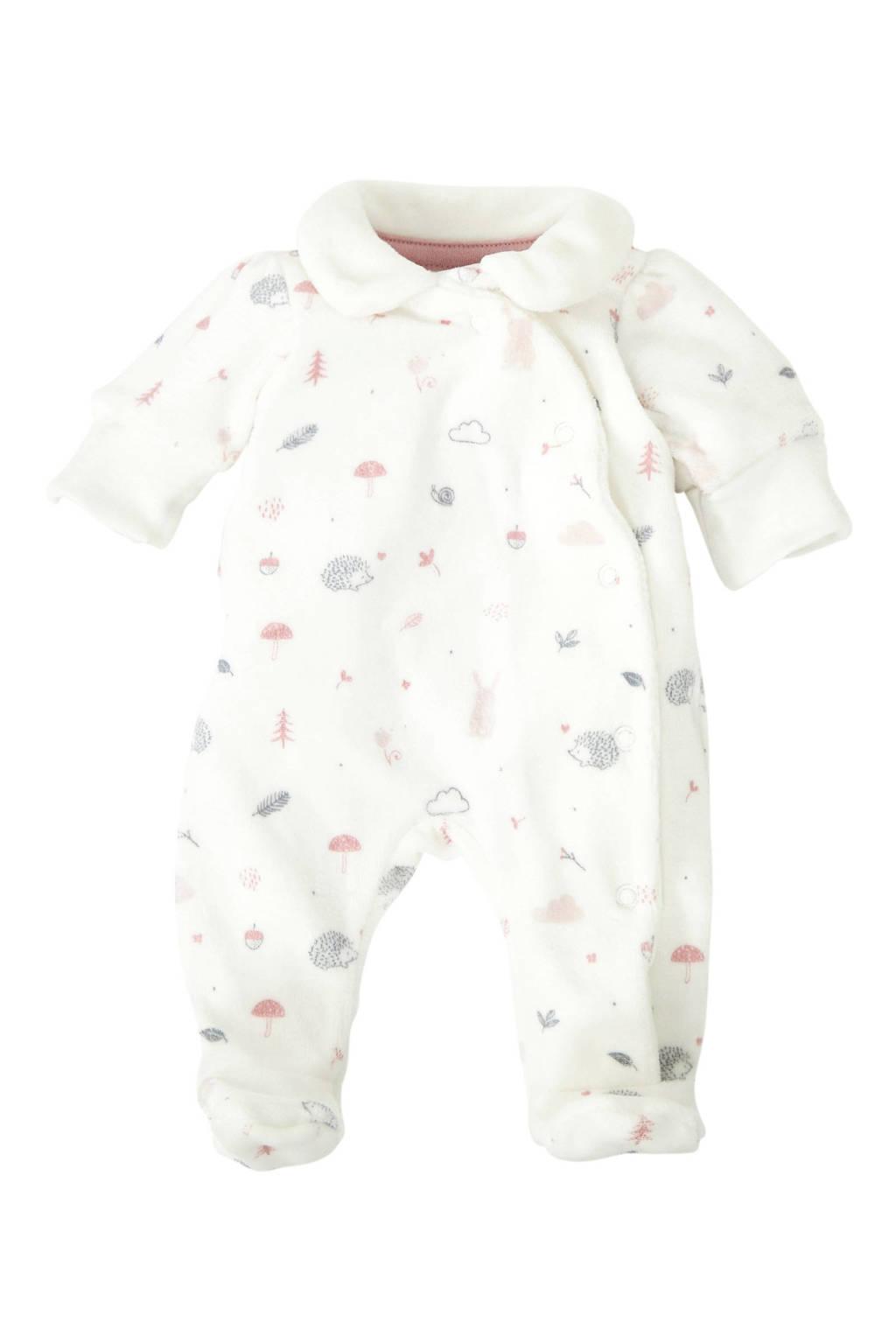 C&A Baby Newborn velours boxpak met all over print ecru, Ecru