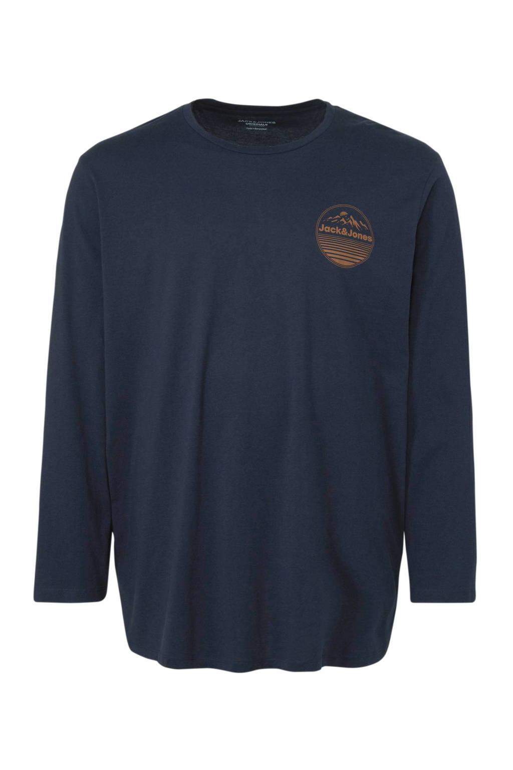 JACK & JONES PLUS SIZE T-shirt met tekst donkerblauw, Donkerblauw