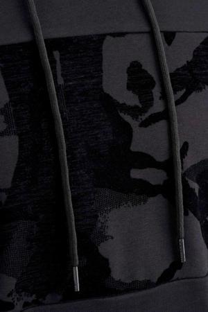 hoodie met printopdruk antraciet/zwart