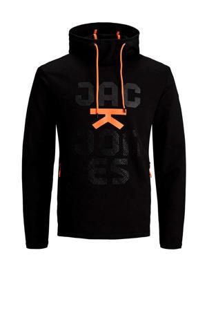 hoodie met printopdruk zwart/oranje