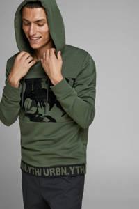 JACK & JONES CORE hoodie met printopdruk groen/zwart, Groen/zwart